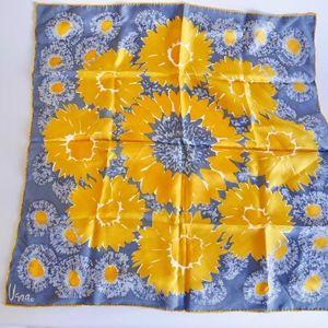 Vintage VERA Silk Scarf w/Gold Flowers